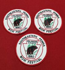 3 Vtg Southeastern Penna Bow Festival Hunting Patches Delaware County 1990 Bear