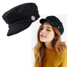 Ladies Womens Girls Newsboy Wool Blend Baker Boy Peaked Black Cap Hat 2018 New
