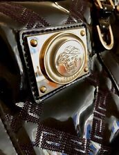 Gianni Versace Quilted Leather Black Purple Bag Gold Hardware with Medusa