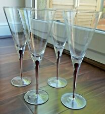 Set of Four Contemporary Straight Red Wine Glasses with Burgundy Stem Effect