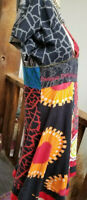 Desigual M Designer Dress Quirky Artsy Hippie Boho Fun Deep V Front and Back