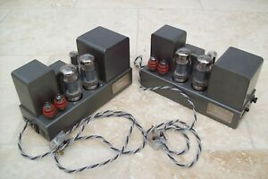 Pair QUAD II AMPLIFIERS working & fully serviced circuits RCA to Jones plugs inc