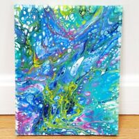 OOAK Marbled Acrylic Painting Stretched Canvas Signed Dated 8x10 Blue Green Pink