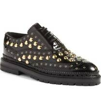 Burberry Women Deardown Black Leather Studded Platform Oxford 39.9/9.5 NIB $1095