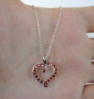 RED HEART NECKLACE PENDANT W/  LAB MADE GARNET GEMS / 925 STERLING SILVER / 18''