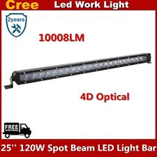 25inch 120W 4D Optical Spot Beam CREE LED Off-road Light Bar UTE Jeep Single Row