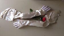 ANTIQUE SLEEVES VICTORIAN SILK SATIN BUTTON WEDDING DRESS REPAIRS POINTED CUFF