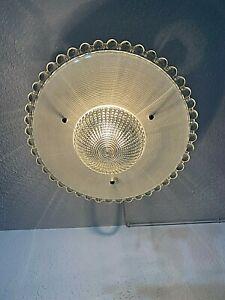 1940s Art Deco Glass Flush Mount 3 Chain Fixture