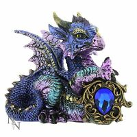 Tyrian Purple Dragon Blue Crystal Guardian 11cm High Nemesis Now