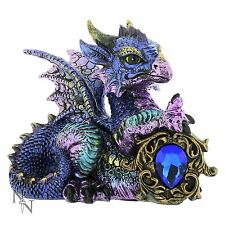 Tyrian Purple Dragon Blue Crystal Guardian 11cm High Nemesis Now