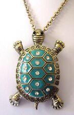 Grand pendentif chaîne bijou tortue couleur or partie mobile cristal émail 3453