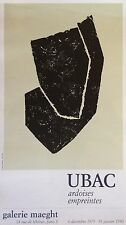 UBAC Raoul Affiche Lithographie 1980 Galerie Lithographie Ardoise Abstraction