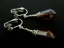 Crystal Teardrop Clip On Earrings. New. A Pair Of Dangly Amber Glass