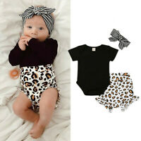 Toddler Kids Baby Girl Infant Clothes Romper Tops Leopard Print Pants Outfits