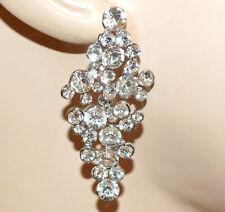 donna,idea regalo ELEGANTE Orecchini a clip Argento strass cristalli,cerimonia