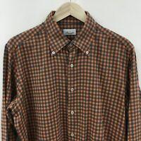 Mens XL Slim Fit GIANNETTO PORTOFINO Gingham Plaid Cotton Shirt  41c