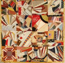 ELEGANT Vintage Victorian Silk Crazy Antique Quilt ~AMERICAN FLAGS & NICE BORDER