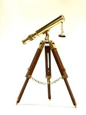 "Nautical Brass Telescope With Wooden Tripod Stand 18"" ~ Marine ~ Maritime"