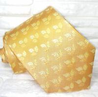 Cravatta gialla bronzo foglie 100% seta Made in Italy informale business