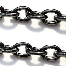 2 Meters Black Plated Round Crossed Chain - 2x3mmx0.7mm - A5477