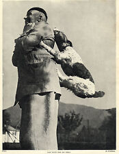 WIRE FOX TERRIER DOG RIDING ON MASTERS BACK OLD DOG PRINT FROM 1934