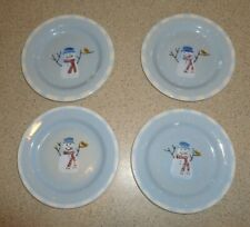 "4 Crate & Barrel Hartstone SNOW PEOPLE Christmas DESSERT PLATES 7-7/8"" - New"