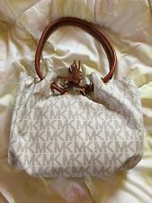 Michael Kors Medium Ring Tote PVC Signature Shoulder Bag Handbag Purse White New