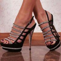 Fashion Women Sandals Rhinestone Heel Sandals Party Black Shoes Big Size 4-20