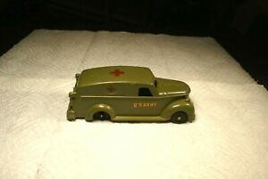 Vintage 1950's Ideal Green Plastic U.S. Army Ambulance With Working Back Doors