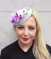 Light Grey Lilac Purple Orchid Flower Pillbox Hat Fascinator Races Clip 3433