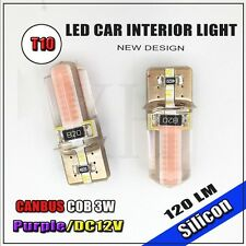 2x Super Purple T10 Wedge Canbus COB 3W LED Light bulbs W5W 2825 158 192 168 194