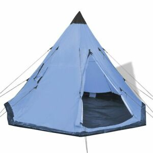 vidaXL 4-Person Tent w/ 2 Windows Blue Camping Hiking Tipi Outdoor Family Trip