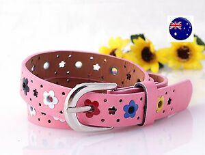 New Girls Kid Children Synthetic Leather Chic Flower Floral Pants Buckle Belt