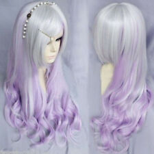Silver Gray Purple Mixed Wig Long Curly Wavy Women Hair Cosplay Party Full Wig