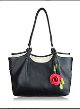 Women Harmony Hand Bag Black Leather And Pretty  Free Pink Scarf For Only: