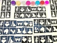 GLITTER TATTOO PRINCESS KIT 96 stencils 8 glitters clear box PERSONALISED FREE