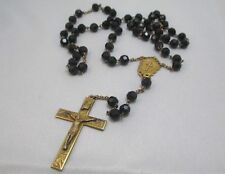 GOLD PLATED CRUCIFIX ROSARY WITH BLACK BEADS **