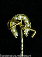 English 15ct. Horse Shoe & Riding Crop Lapel Pin with seed pearls