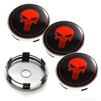 "4X 60mm 2.36"" The Punisher Skull Emblem Car Wheel Center Hub Caps Rim Cover"