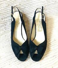 Vtg Salvatore Ferragamo black peep toe bow sling back heels pumps shoes sz 7.5