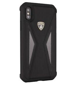 LAMBORGHINI Aventador D8 Leder iPhone X, iPhone Xs Schutzhülle Back Case Schwarz