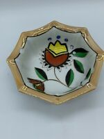 Vintage Lusterware Nut Bowl Candy Dish Cut Outs Hand Painted Made in Japan