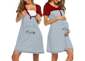 Nachthemd Stillnachthemd Stillen Schwangerschaft Stillmode Neu Hemd Kurzarm