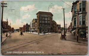 "Macon, Georgia Postcard ""Commercial Bank Building"" Street Scene 1908 Cancel"