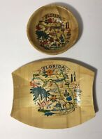 Vintage Florida Souvenir Pressed Bamboo Plate /Tray And Bowl 2 Pieces