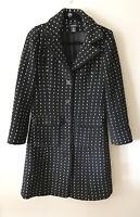 Arden B Womens Coat Small Buttons Polka Dot Black White Pockets Outerwear Winter
