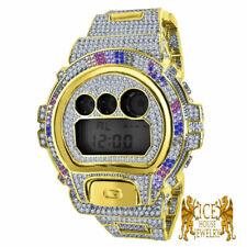 Men's Bling Rainbow  Diamond Simulated  G Shock DW 6900 2 Tone Gold Custom Watch