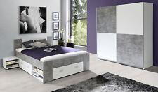 Jugendzimmer Set 2-teilig Kleiderschrank Bett beton lichtgrau / weiß 63011