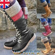 Womens Knitted Patchwork Lace Up Combat Army Boots Zipper Mid Calf Boot Shoes UK