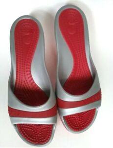 CROCS SASSARI Womens Red Gray Size 10 Wedges Pumps
